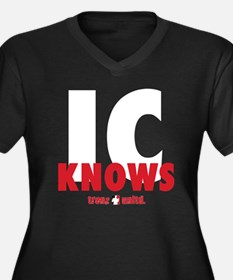 IC KNOWS RB Women's Plus Size Dark V-Neck T-Shirt