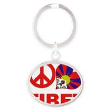 Peace Love Tibet Oval Keychain
