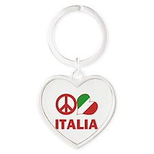 Peace Love Italy Heart Keychain