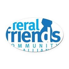 feral friends_centered Oval Car Magnet