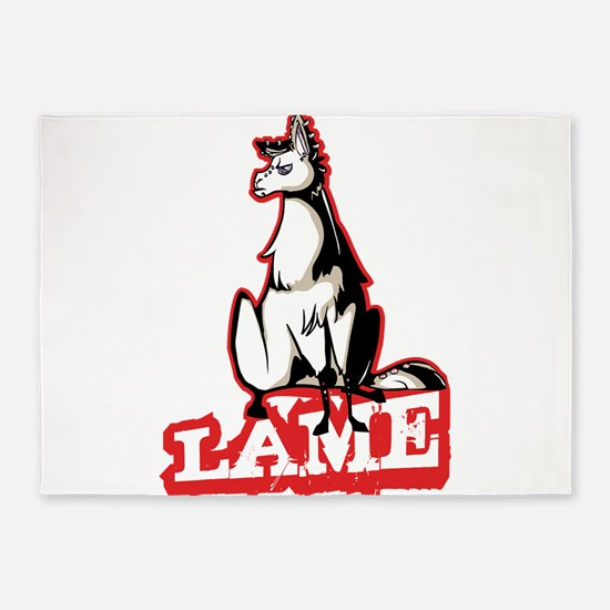 Llama disapproves 5'x7'Area Rug