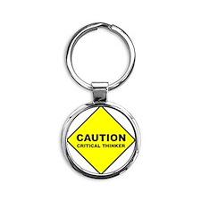 2-caution Round Keychain