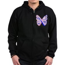 Butterfly Male Breast Cancer Zip Hoodie