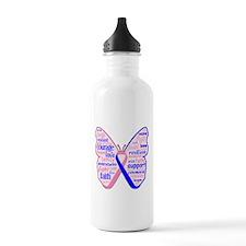 Butterfly Male Breast Cancer Water Bottle