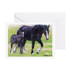 Clydesdale Mare and Foal Greeting Cards