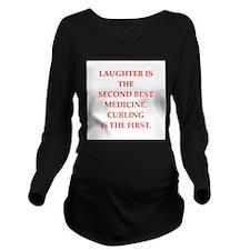 CURLING3 Long Sleeve Maternity T-Shirt
