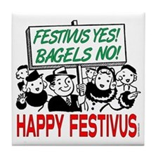 festivus_sign_crowd Tile Coaster