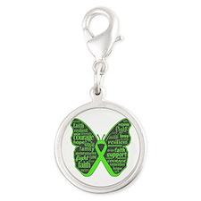 Butterfly Lymphoma Ribbon Silver Round Charm