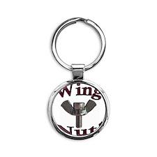 WingNut  Burgundy Round Keychain