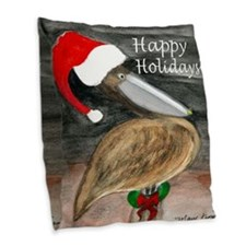 Santa Pelican Holiday Throw Pillow From Art Burlap
