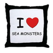 I love sea monsters Throw Pillow