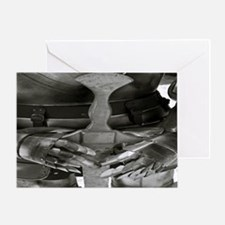 4639-armour-sword-bw-TJ-aw Greeting Card