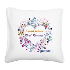 Smart Women Read Romance Square Canvas Pillow