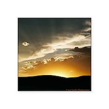 "Wyoming Sunset Throw Pillow Square Sticker 3"" x 3"""