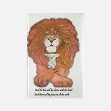 3-lion and lamb very very large Rectangle Magnet