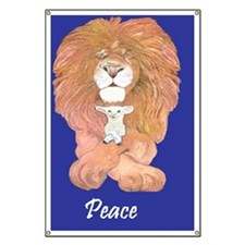 3-Lion and Lamb reworked in blue peace Banner