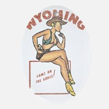 Wyoming Pinup Oval Ornament