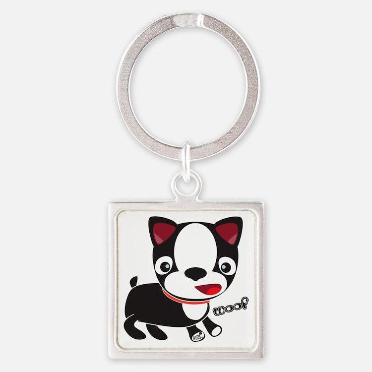 Choopie - Boston Terrier Puppy Square Keychain