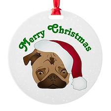 Merry Christmas Santa Pug Ornament