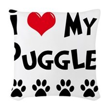 I-Love-My-Puggle Woven Throw Pillow