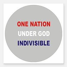 """One Nation Under God Square Car Magnet 3"""" x 3"""""""