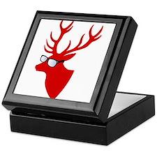 Christmas deer with nerd glasses Keepsake Box