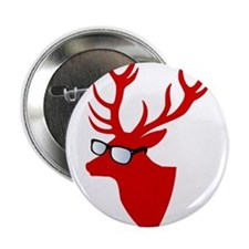 "Christmas deer with nerd glasses 2.25"" Button"