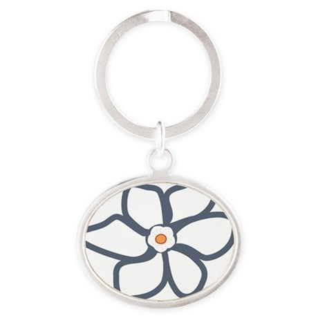 blue beige flower notecard Oval Keychain