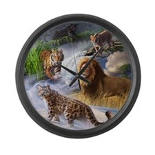 Big Cats Large Wall Clock