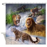Leopard cougar Shower Curtains