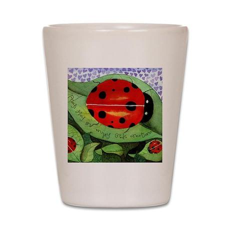 Ladybug mouse pad Shot Glass