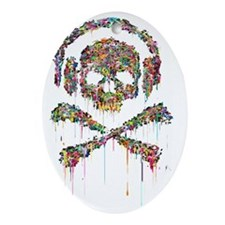 DRIPPING-SKULL-FINAL-1a-2 Oval Ornament