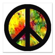 "BlkPeacewithtiedye Square Car Magnet 3"" x 3"""
