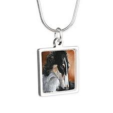 Borzoi # 2 Silver Square Necklace