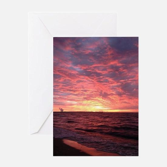 Sun rise on Lake Erie Greeting Card