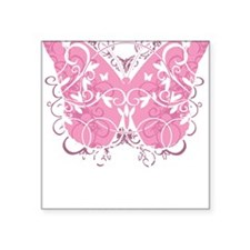 "Breast-Cancer-Butterfly-blk Square Sticker 3"" x 3"""