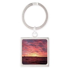 Sun rise on Lake Erie Square Keychain