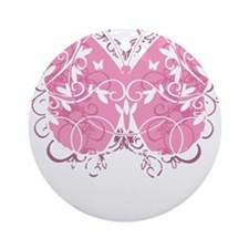 Breast-Cancer-Butterfly-blk Round Ornament
