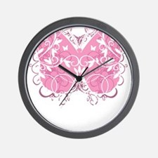 Breast-Cancer-Butterfly-blk Wall Clock