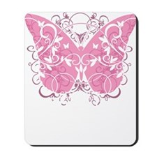 Breast-Cancer-Butterfly-blk Mousepad