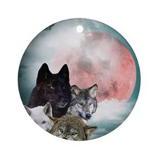Wolfs Moon Round Ornament