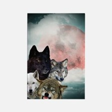 Wolfs Moon Rectangle Magnet