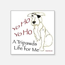 "Tripawd Pirate Captain Jack Square Sticker 3"" x 3"""