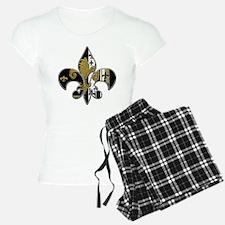 Fleur de lis bling black and gold Pajamas