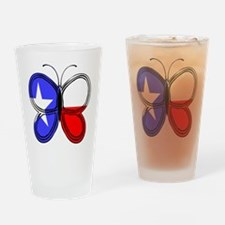 Texas Flag Butterfly Drinking Glass