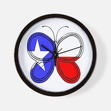 Texas Flag Butterfly Wall Clock