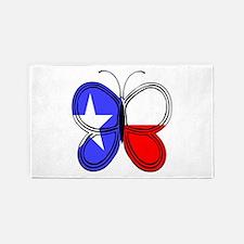 Texas Flag Butterfly 3'X5' Area Rug