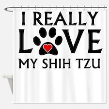 I Really Love My Shih Tzu Shower Curtain