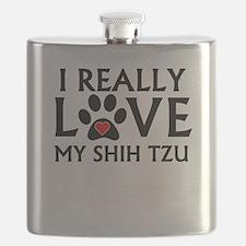 I Really Love My Shih Tzu Flask