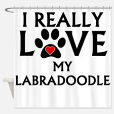 I Really Love My Labradoodle Shower Curtain